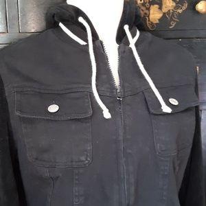 Fashion Bug Tops - Black Denim and Velour Hoodie Jacket S